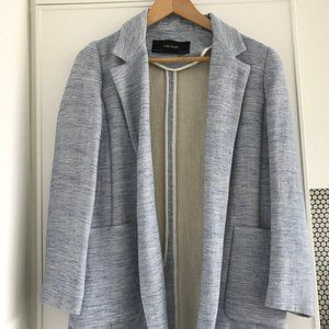 Zara - Light Blue/White Linen Blazer